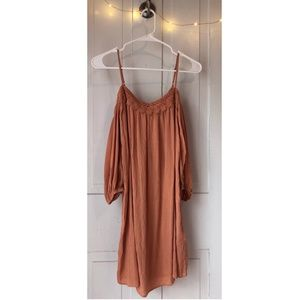 Light Orange Long-Sleeve Lace Dress